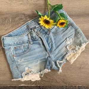 American Eagle Jean Shorts With Lace Pocket Detail